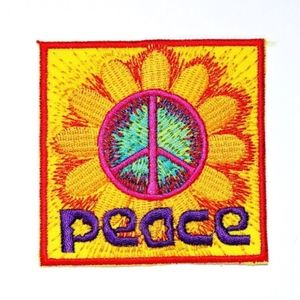 Accessories - Peace patch hippie flower iron on DIY boho badge